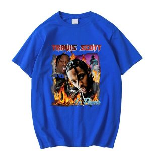 New Arrival Travis Scott 100% Cotton Blue T-Shirt