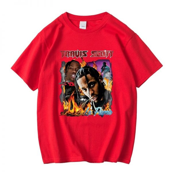New Arrival Travis Scott 100% Cotton Red T-Shirt
