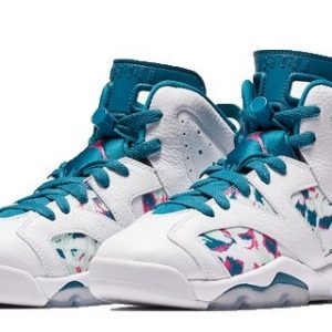 Nike Air Jordan 6 Retro Green Abyss GS Women Basketball Shoes (Front)