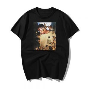 Travis Scott Butterfly Face 100% Cotton Black T-Shirt