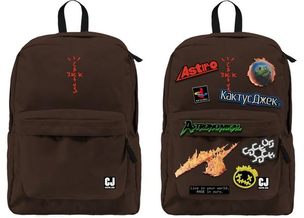 Travis Scott Cactus Jack With Patch Set Brown Backpack