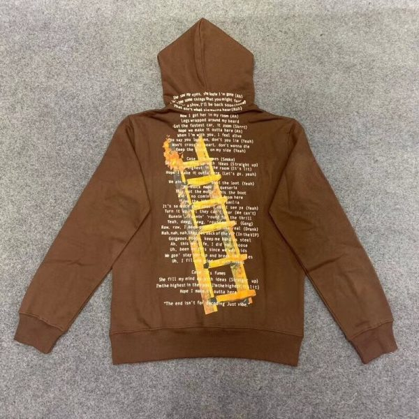 Travis Scott Highest In The Room Cactus Jack Brown Pullover Hoodie (Back)