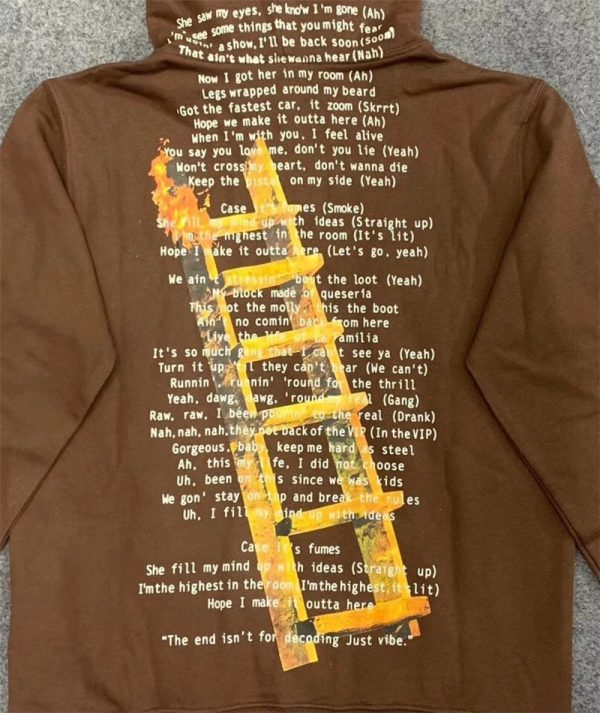Travis Scott Highest In The Room Cactus Jack Brown Pullover Hoodie (Detail 1)