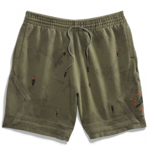 Travis Scott Jordan Washed Suede Olive Shorts